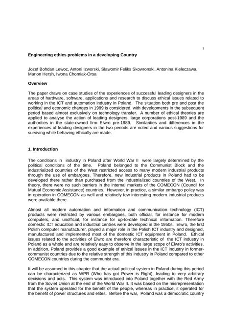 engineering ethics problems   developing country