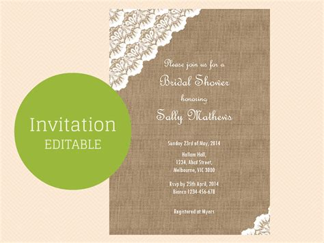 editable bridal shower invitation templates burlap and lace editable invitation magical printable