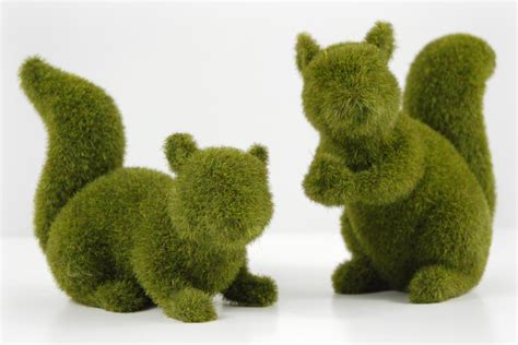 squirrel topiary moss squirrels set of 2