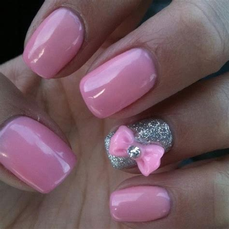 easy nail art bow pink nails with bow