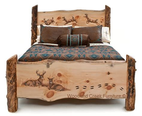 log bed frame carved log bed cabin furniture lodge bedroom rustic
