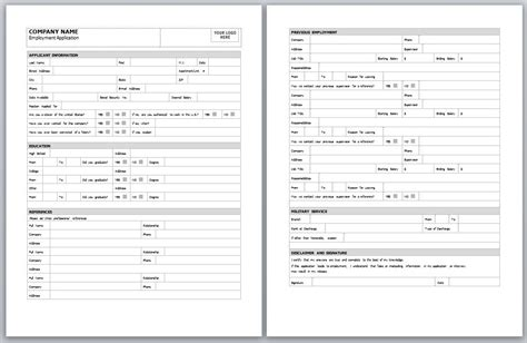 Free Employment Application Templates by Employment Application Template Employment Application Form