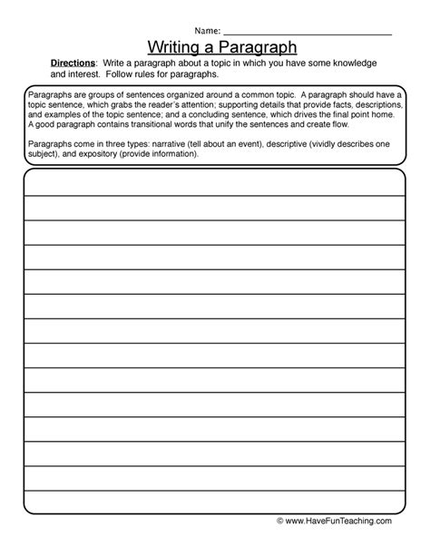 Writing Essay Worksheets by Lined Paper Teaching