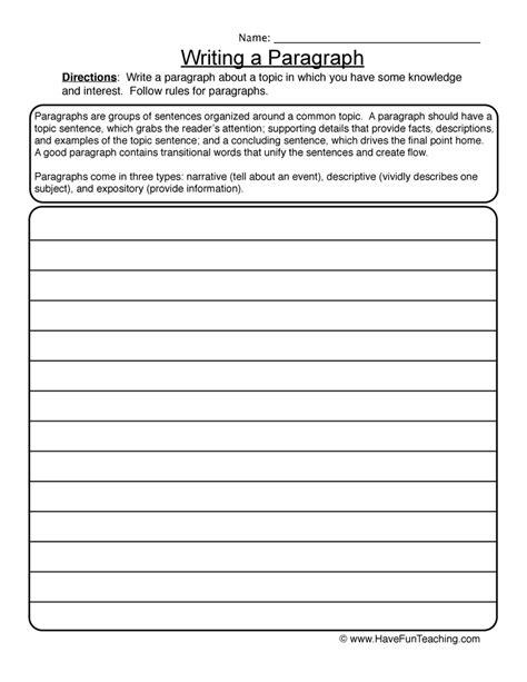 writing a paragraph worksheet writing paragraphs worksheet