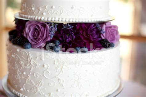 Wedding Cake Images Free by Wedding Cake With Purple Flowers Stock Photos Freeimages