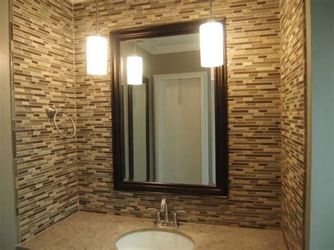 glass tile powder room glass tile accent wall in a powder room bathrooms custom showers