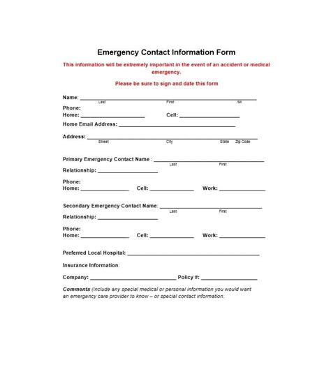 54 Free Emergency Contact Forms Employee Student Free Emergency Contact Form Template For Employees