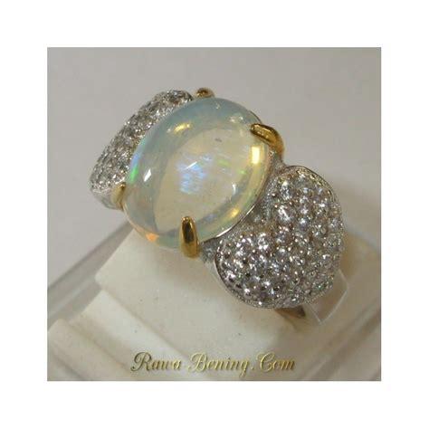 Cincin Titanium Silver Permata Pelangi cincin wanita ring 5us opal pelangi afrika 1 80 carat