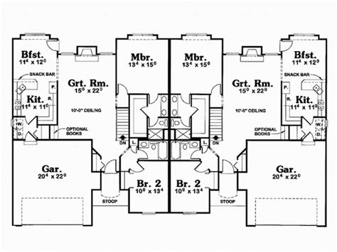 duplex house plans with garage in the middle home designs duplex plans with garage in middle house