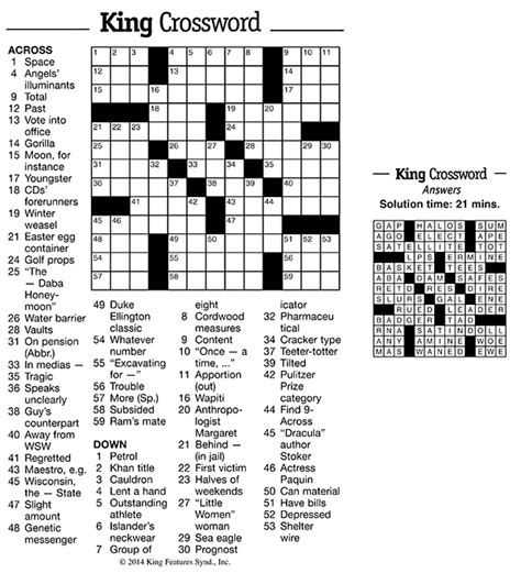 pictures free printable crossword puzzles best games games and puzzles king features weekly service