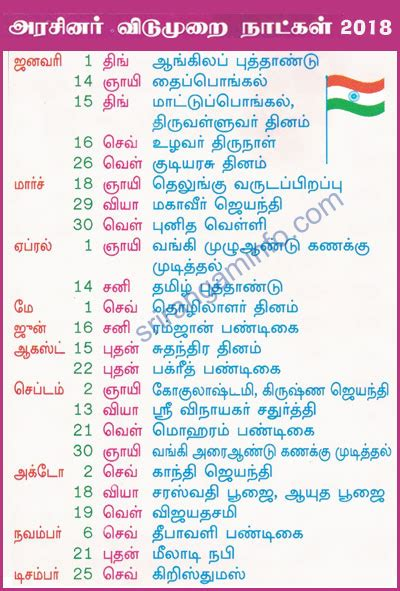 Calendar 2018 Tamil Nadu Holidays List Of Tamilnadu Government Holidays 2017