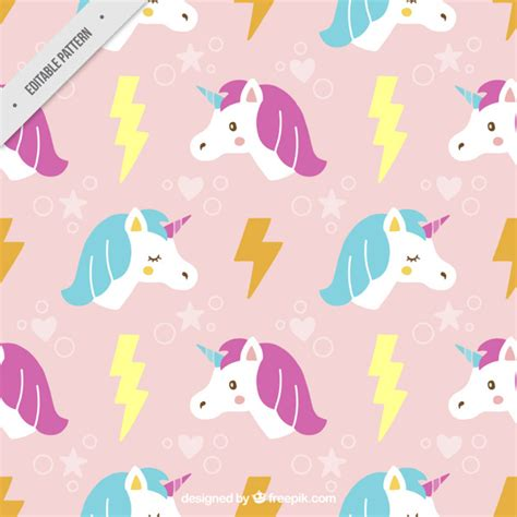 unicorn pattern background hand drawn cute unicorn with lightning pattern vector