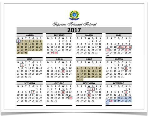 Calendã Stf 2017 Ministros Do Stf Ter 227 O 91 Dias De Folga Em 2017 Poder360