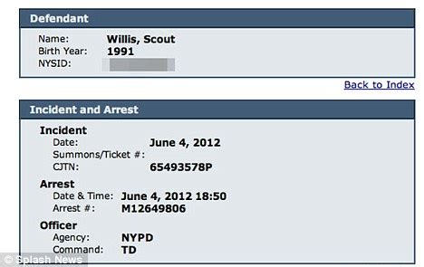 Official Court Records Scout Willis Arrested For Underage And Using