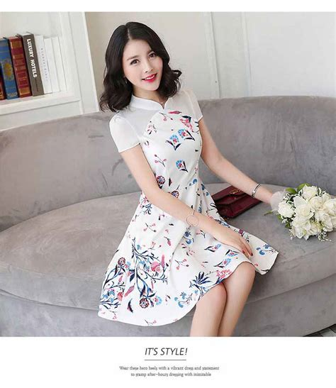 Mini Dress Chiffon Putih Pendek Motif Bunga Biru Elegantmurahgb0756 dress putih motif bunga cantik 2017 myrosefashion