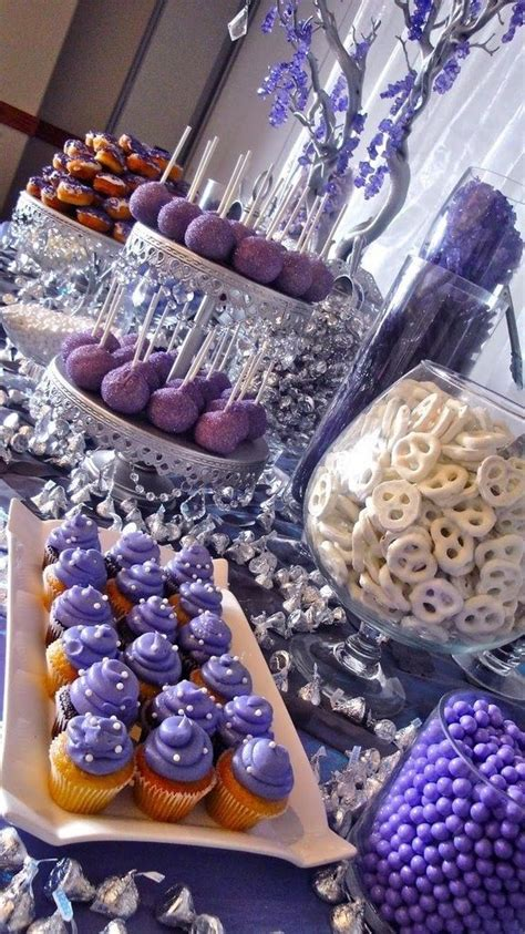 lavender new year goodies themes buffet in purple quinceanera ideas