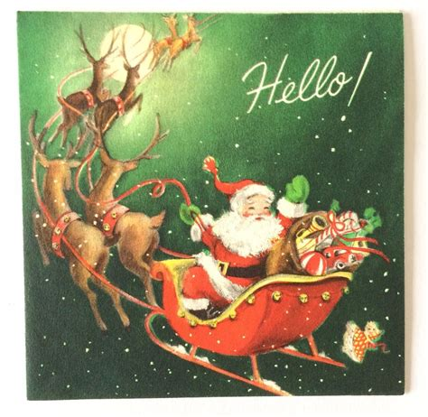 vintage santa claus with reindeer sleigh christmas