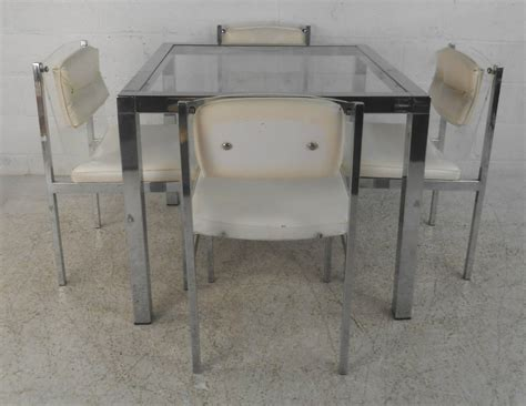 Glass And Chrome Dining Table And Chairs Mid Century Modern Chrome Glass And Lucite Dining Set Table With Chairs For Sale At 1stdibs