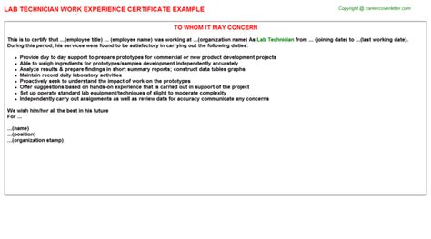 Experience Letter Lab Technician Blood Bank Lab Technician Work Experience Certificates