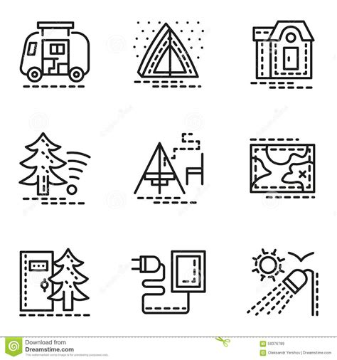 symbols of comfort elements of cing simple line icons set stock