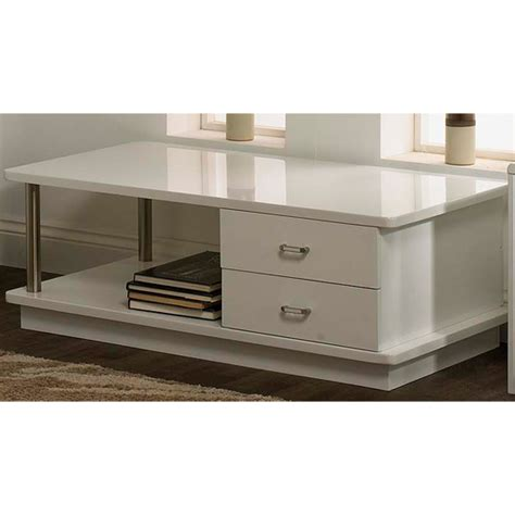 white gloss coffee table with drawers posh white high gloss coffee table with drawers