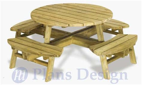 plans to build a picnic table and benches traditional round picnic table with benches out door furniture plans odf04 ebay