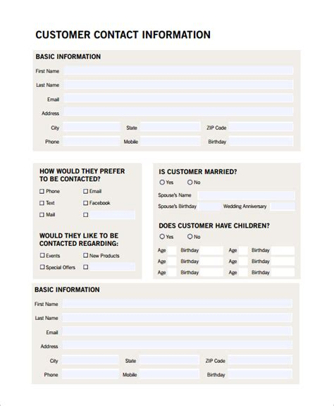 customer profile form template sle customer profile 8 exles in pdf