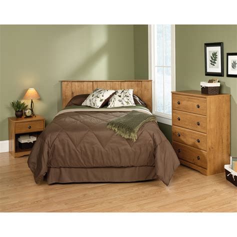 3 piece bedroom furniture sauder full queen 3 piece bedroom in a box set amber pine