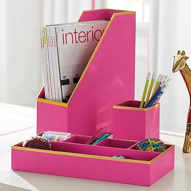 Pink Desk Accessory Sets Printed Paper Desk Accessories Set Solid Pink With Gold Trim Pbteen