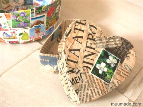 How To Make Paper Mache Boxes - shaped paper mache box with lid muumade