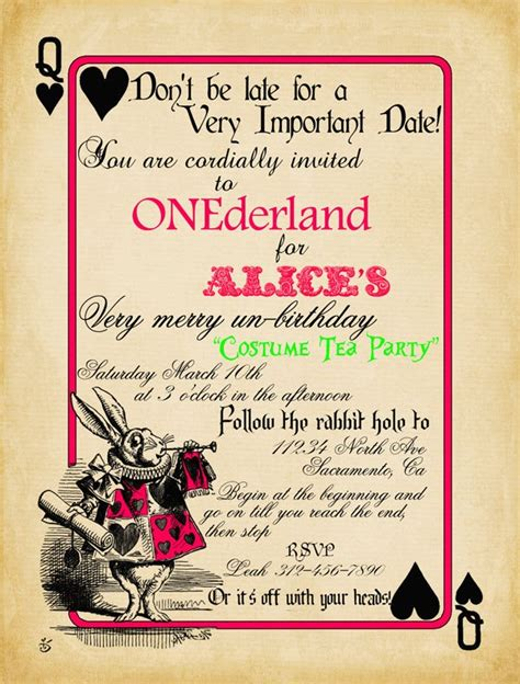 playing card alice in wonderland invitation bridal shower