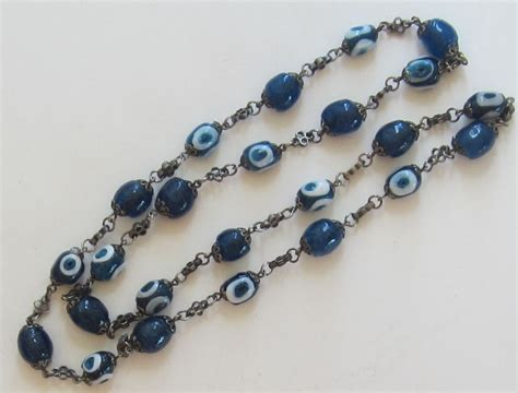 vintage glass bead silver tone chain necklace