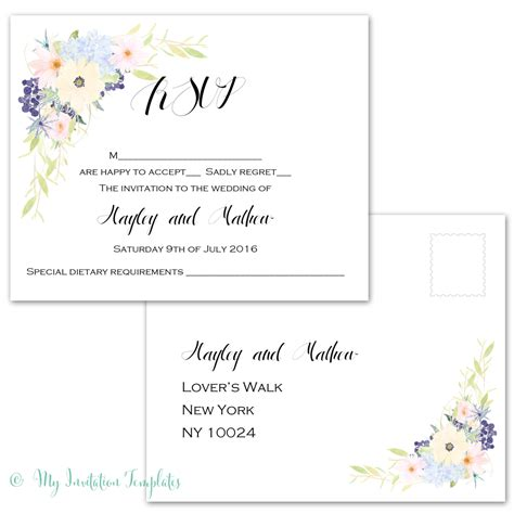 Rsvp Postcard Template Download Eden Flower Design Response Card Rsvp Invitation Template