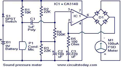 sound pressure meter electronic circuits  diagrams