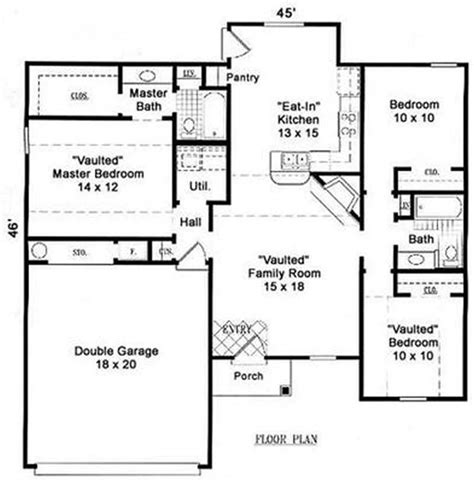 eat in kitchen floor plans small ranch traditional house plans home design su1625