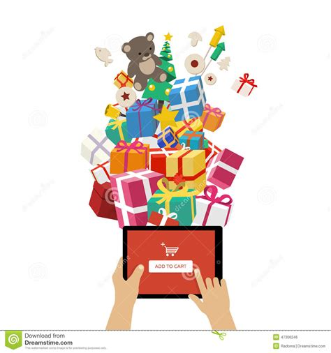 ordering christmas gifts online stock vector image 47306246
