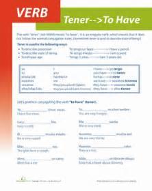 spanish verb tener worksheet education com