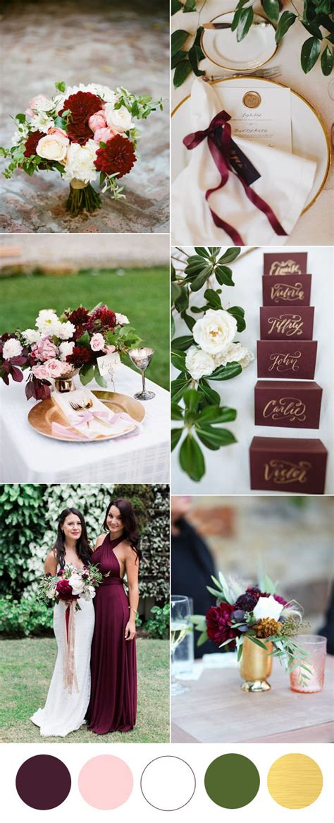 wedding themes gold and burgundy six beautiful burgundy wedding colors in shades of gold