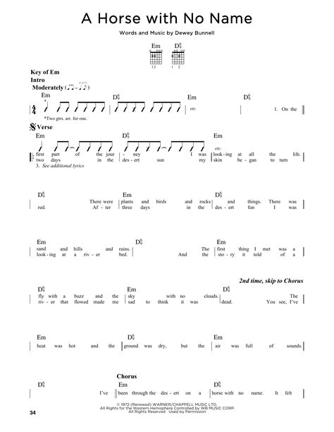 guitar tutorial horse with no name a horse with no name sheet music by america guitar lead