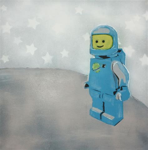 lego painting lego on the moon by wall kandi