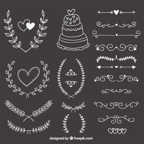 ornaments wedding wedding ornaments on blackboard vector free