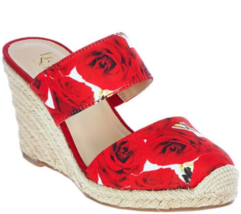 Wedges Cardinal Original quot as is quot franco sarto leather or fabric slide espadrille wedges mint qvc