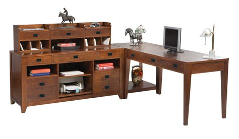 Mission Style Desk With Hutch Small Corner Writers Desk Set With Low Hutch In Mission Style And Cherry Finish 3688