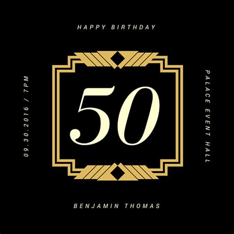 happy 50th birthday card template vintage invitation templates canva