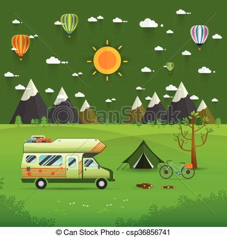 national mountain park camping scene with family trailer