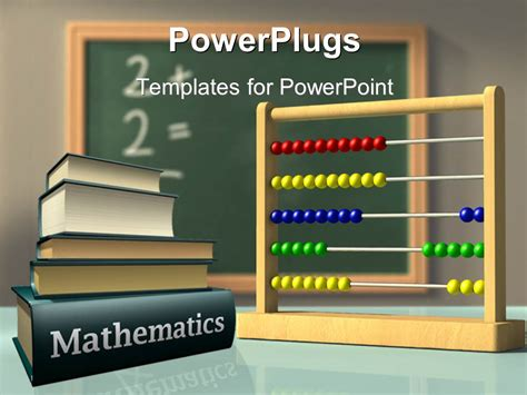 Powerpoint Template Mathematics Books And Abacus In Front Of A Chalkboard Used To Solve Simple Math Powerpoint Template
