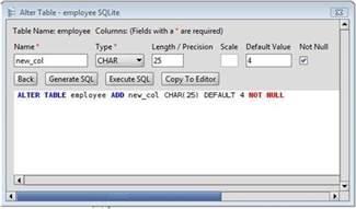 sqlite add column to sqlite database tables via the alter