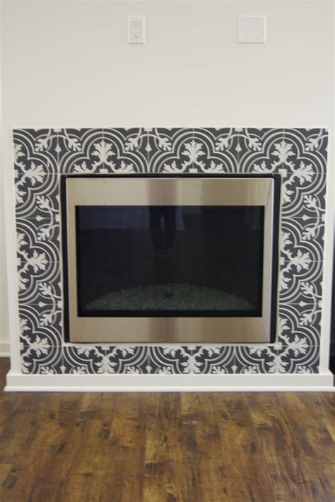 black and white fireplace black and white patterned ceramic tile merola twenties