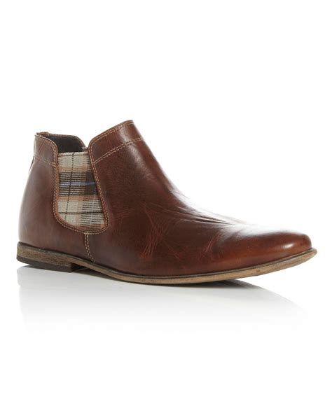 dune boots dune checked chelsea boot in brown for lyst
