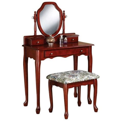 vanity and bench set coaster 3 pc vanity table mirror bench set red 360